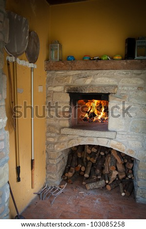 An outdoor pizza oven - stock photo