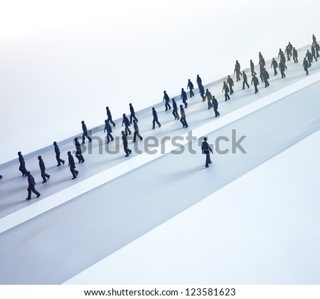 An outlier choosing his own path - tiny people walking in different directions