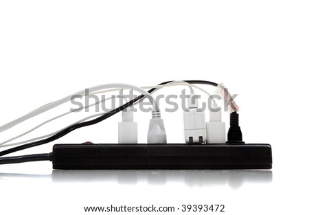 An over loaded surge protector - stock photo