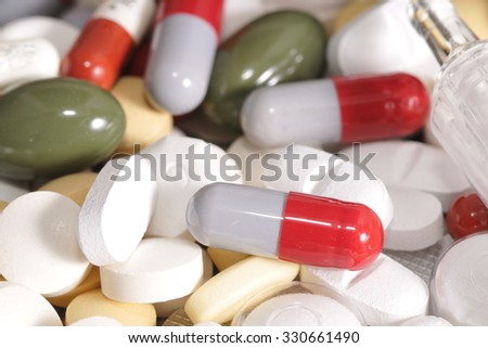 An overdose of drugs - stock photo