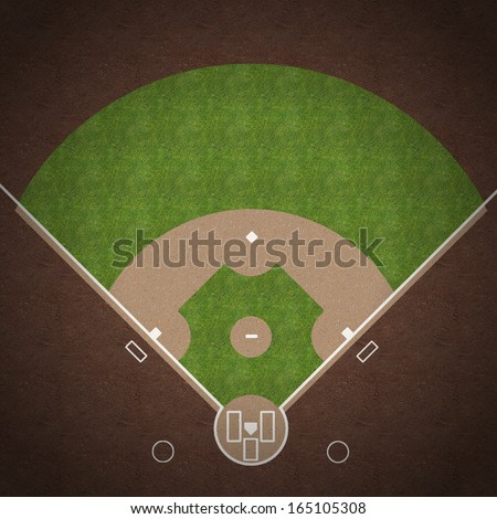 An overhead view of an american baseball field with white markings painted on grass and gravel. - stock photo