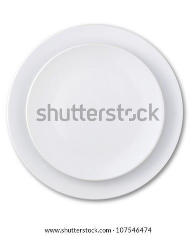 an overhead view of an empty plate isolated on white with a clipping path