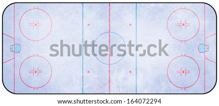 An overhead view of an ice hockey rink complete with markings. - stock photo