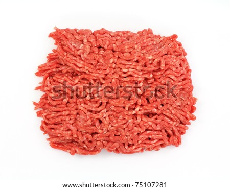An overhead view of lean ground beef.