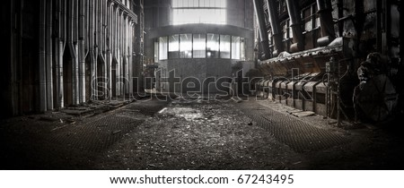 An overview of the controle room at an industrial area - stock photo