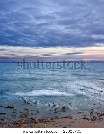 An overview of the Santa Barbara channel before a winter storm at sunset. - stock photo
