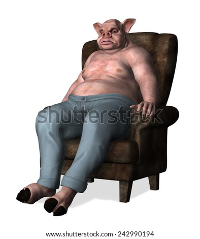 An overweight pig-man sits slouched in a chair - 3d render. - stock photo