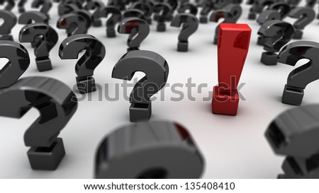 An red exclamation point in a field of black question marks - stock photo