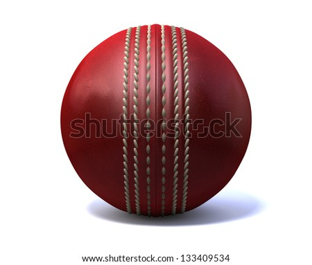 An red leather cricket ball isolated on a white background
