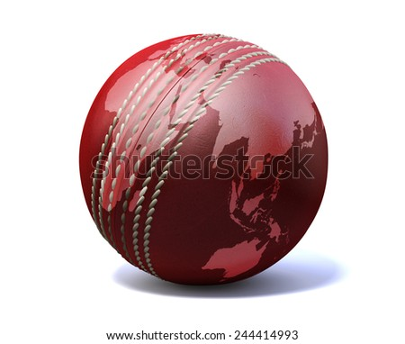An red leather cricket ball with a world map projected onto it on an isolated on a white background