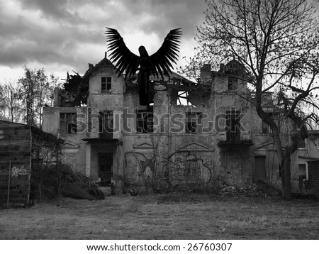An rendered angel silhouette with unfolded wings sitting on an old house. Was destroyed by a storm and is now demolished. Digitally created image with photo as a background.