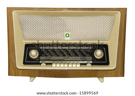 An retro radio with a magic eye, path