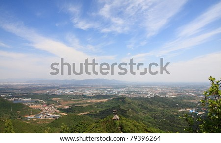 an rural area overview from mountain in beijing