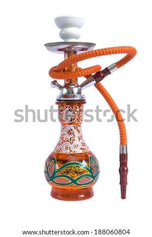 An sheesha or hooka water pipe, ornate but affordable - stock photo