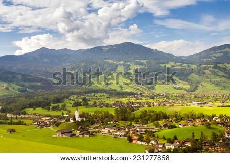 An small Alpine village in between Interlaken and Lucerne in Switzerland  - stock photo