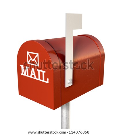 An top view of a red old school retro tin mailbox with a white flag pointing upward showing that mail is present and an embossed mail envelope sign on an isolated background - stock photo