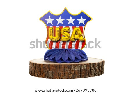 An U.S.A. centerpiece against a white background
