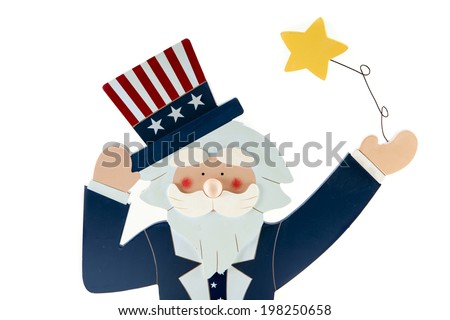 An Uncle Sam Decoration against a white background - stock photo