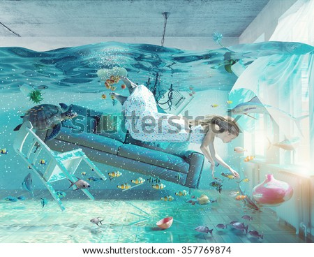 an underwater view in the flooding interior and young woman . photo combination concept - stock photo