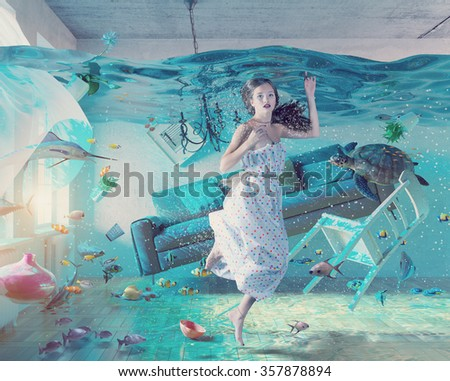 an underwater view in the flooding interior and young woman .Photo combination concept - stock photo