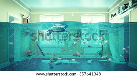 an underwater view in the flooding interior. 3d concept - stock photo