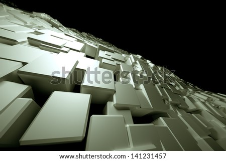 An uneven surface consisting of white blocks