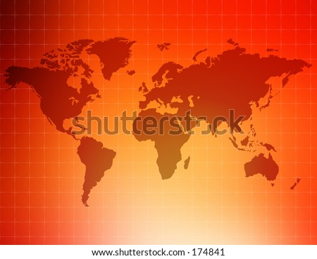 An unfolded map of the world. Map consists of little dots. - stock photo