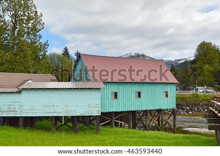An unidentified buildings next to the water in Petersburg, ALASKA USA : 10 May 2016