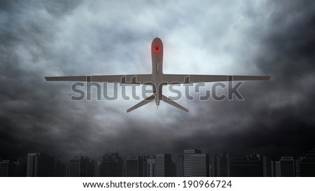 An unmanned drone - automated surveillance concept - stock photo