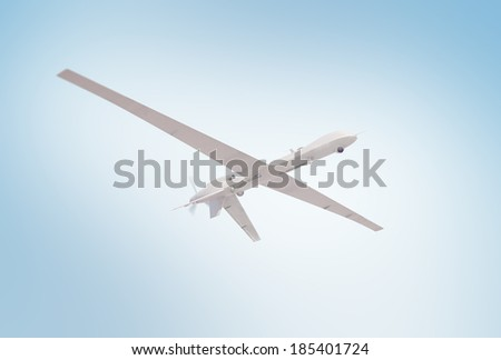 An unmanned drone during a reconnaissance mission - stock photo