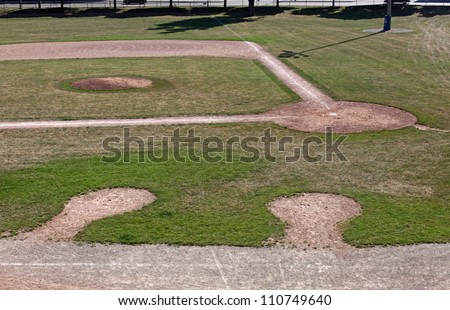 An unoccupied baseball field featuring on deck circles, shot from the bleachers. - stock photo