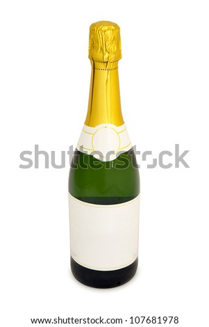 An unopened bottle of champagne with a blank label stands on a white background. - stock photo