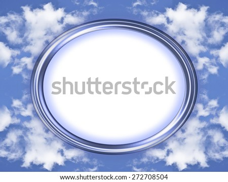 An unusual, blue, oval picture frame with symmetrical cloud formation background and copy space - stock photo