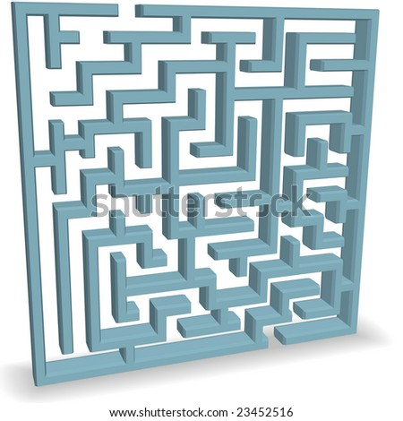 An upright 3D blue Maze Puzzle with entrance and exit at the top and bottom.