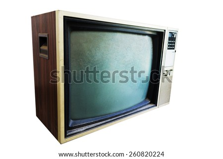 An Vintage TV with direct light . - stock photo
