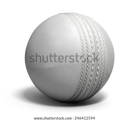An white leather cricket ball isolated on a white background - stock photo