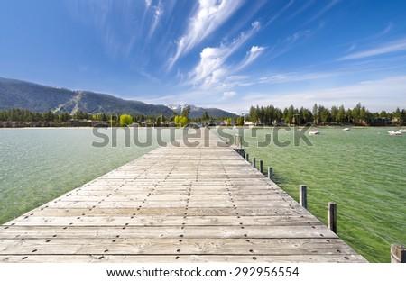 An Wooden Bridge at Lake tahoe - stock photo