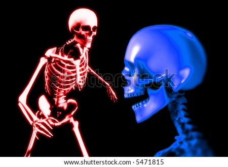 An x ray image two people in which you can see the skull and bones. A suitable medical or Halloween based image. - stock photo