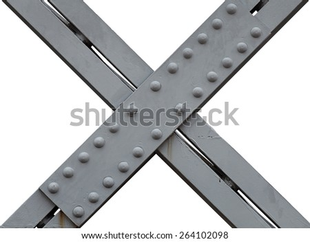 An X shaped metal girdle with rivets, isolated against white.  - stock photo