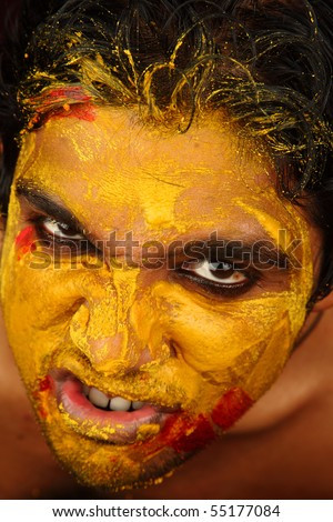 An yellow colored angry face - stock photo