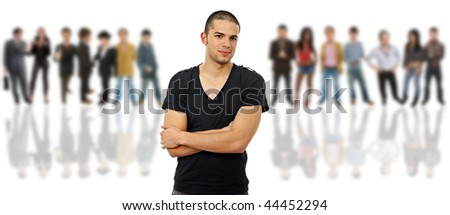 an young man in front of a group of people, isolated - stock photo