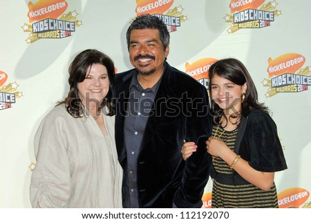 Ana Serrano with George Lopez and their daughter Pedra at Nickelodeon's 20th Annual Kids' Choice Awards. Pauley Pavillion, Westwood, CA. 03-31-07 - stock photo