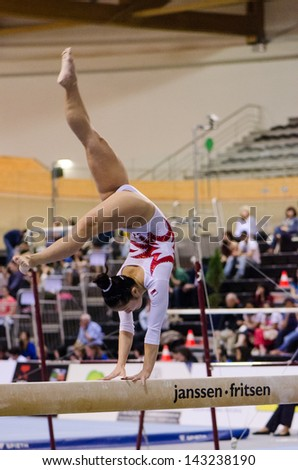 ANADIA, PORTUGAL - JUNE 21: Heem Lim (SIN) during the Art Gymnastics FIG World Cup Challenge on june 21, 2013 in Anadia, Portugal.