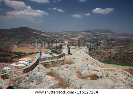 anaglyph 3D of Olvera is a white village  in Cadiz province, Andalucia, Spain. (need red-cyan stereo glasses) - stock photo