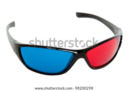 Anaglyphs with red and blue glass - isolated - stock photo