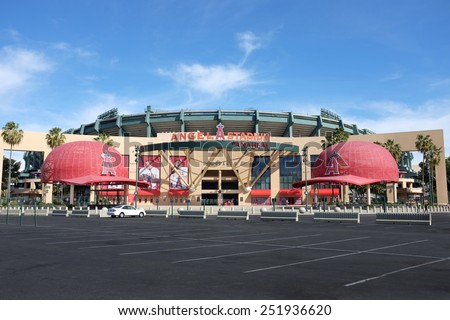 ANAHEIM, CA - FEBRUARY 11, 2015: Angel Stadium of Anaheim main entrance. Angel Stadium of Anaheim is the Major League Baseball (MLB) home home field of the Los Angeles Angels of Anaheim. - stock photo