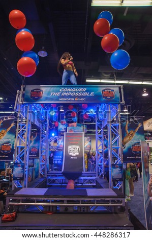 Anaheim, CA - June 24: American Ninja Warrior winner Natalie Duran performs at the 7th annual VidCon conference at the Anaheim Convention Center in Anaheim, California on June 23, 2016