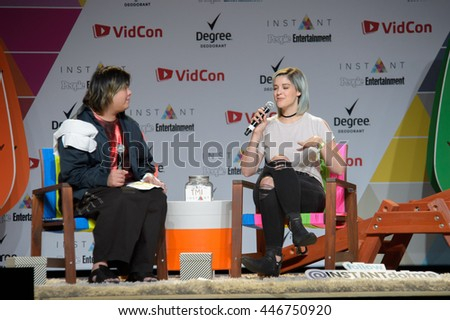 Anaheim, CA - June 23: Catherine Valdes(R) known as Catrific is interviewed on People Entertainment stage at 7th annual VidCon at the Anaheim Convention Center in Anaheim, California on June 23, 2016