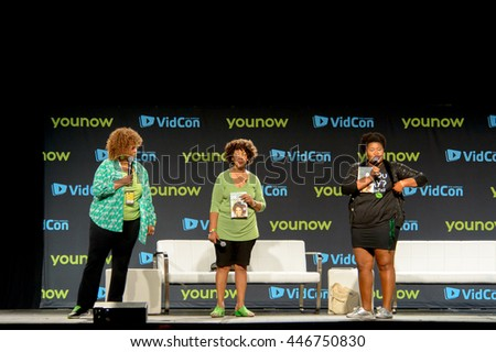 Anaheim, CA - June 24: Glozell Green (L) performs at the 7th annual VidCon conference at the Anaheim Convention Center in Anaheim, California on June 23, 2016
