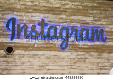 Anaheim, CA - June 24: Instagram's booth at VidCon 2016 for YouTube creators, influencers, industry experts and fans at the Anaheim Convention Center in Anaheim, California on June 23, 2016